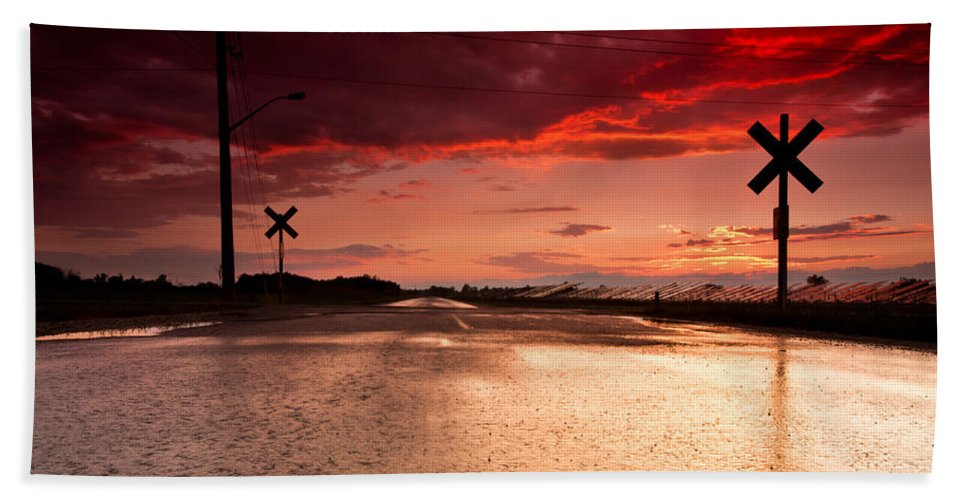 Rail Bath Sheet featuring the photograph Railroad Sunset by Cale Best