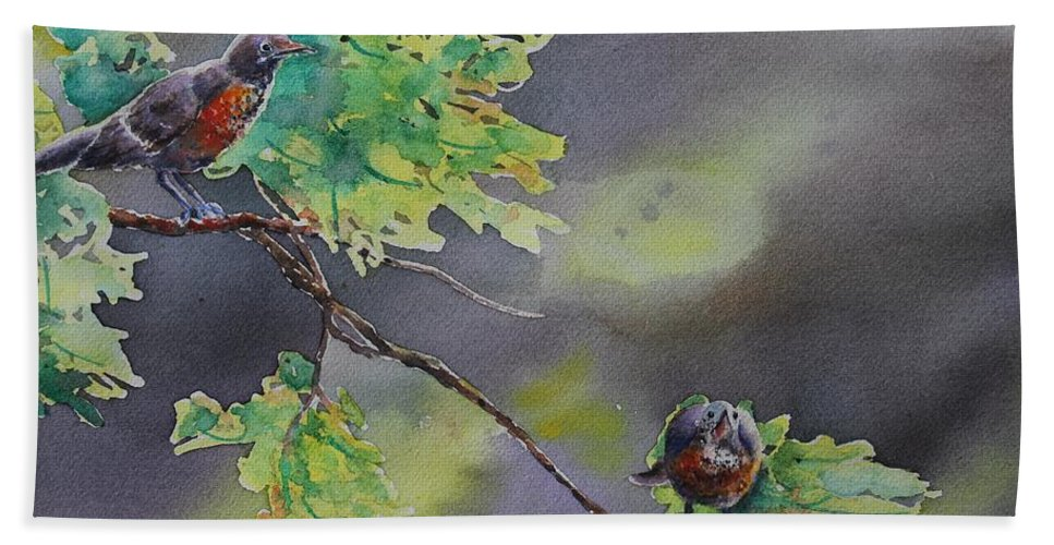 Robin Bath Sheet featuring the painting Ready For Take Off by Ruth Kamenev