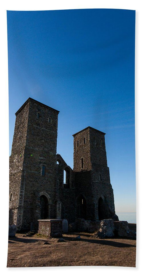 Church Hand Towel featuring the photograph Reculver Towers by Dawn OConnor
