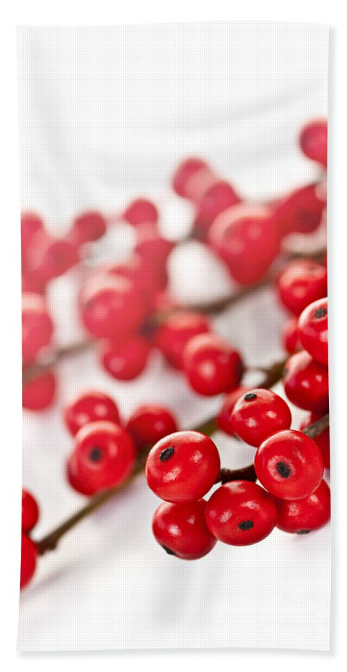 Berries Hand Towel featuring the photograph Red Christmas Berries by Elena Elisseeva