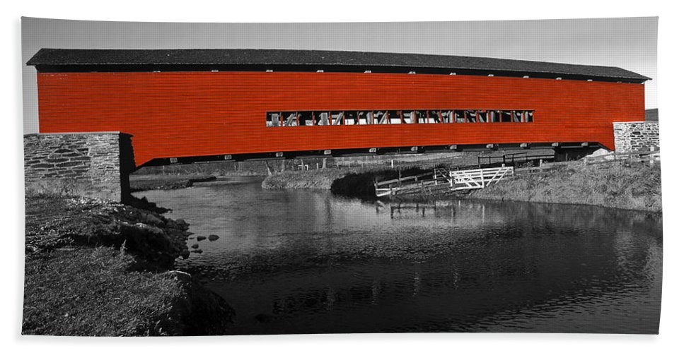 Red Covered Bridge Bath Sheet featuring the photograph Red Covered Bridge by Sally Weigand