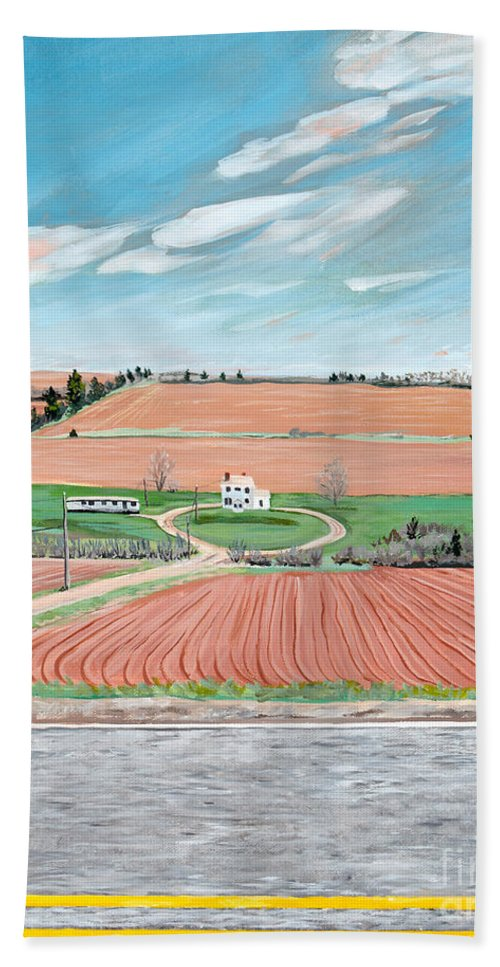 Red Soil Hand Towel featuring the painting Red Soil On Prince Edward Island by Stella Sherman