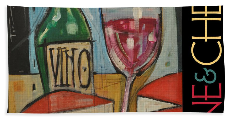 Beverage Bath Sheet featuring the painting Red Wine And Cheese Poster by Tim Nyberg