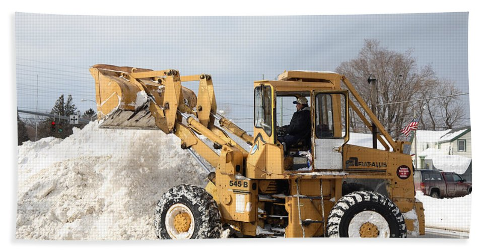 Snowstorm Hand Towel featuring the photograph Removing Snow by Ted Kinsman