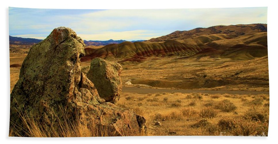 John Day Fossil Beds Hand Towel featuring the photograph Rocky Painted Hills by Adam Jewell