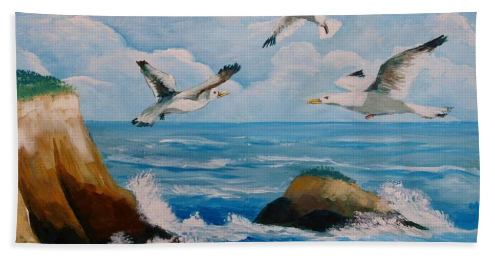 Sea Bath Sheet featuring the painting Seagulls by Jean Pierre Bergoeing