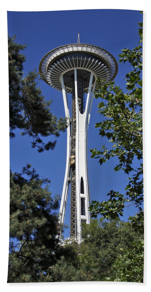 3scape Photos Bath Sheet featuring the photograph Seattle Space Needle by Adam Romanowicz