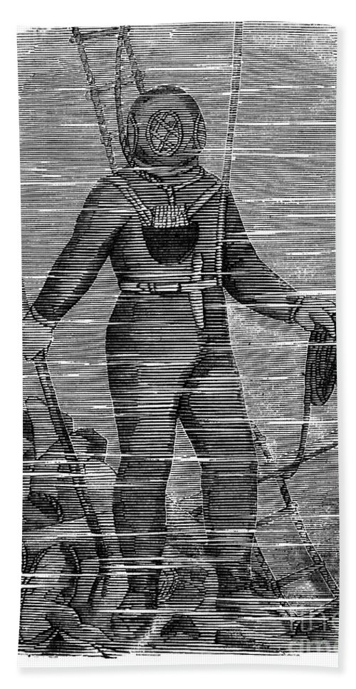 1858 Hand Towel featuring the photograph Sevastopol: Diver, 1858 by Granger