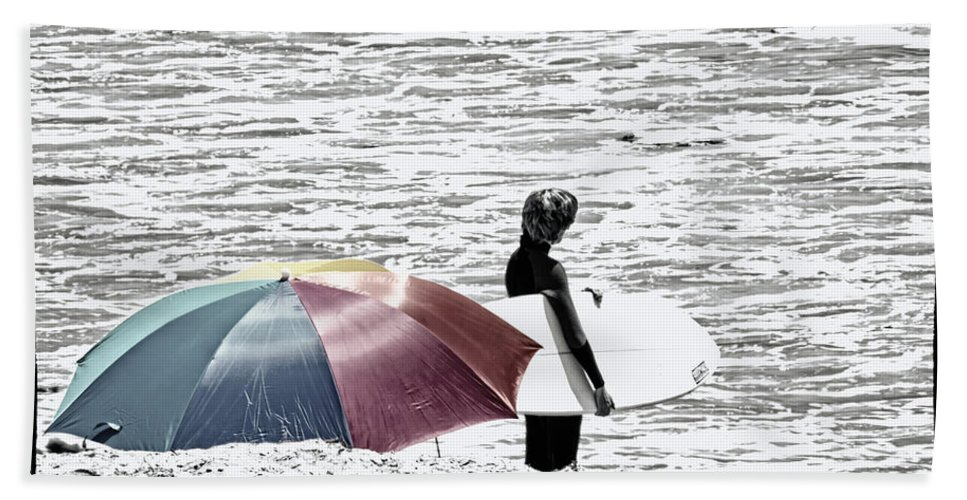 Surfer Hand Towel featuring the photograph Surfer Umbrella by Linda Dunn