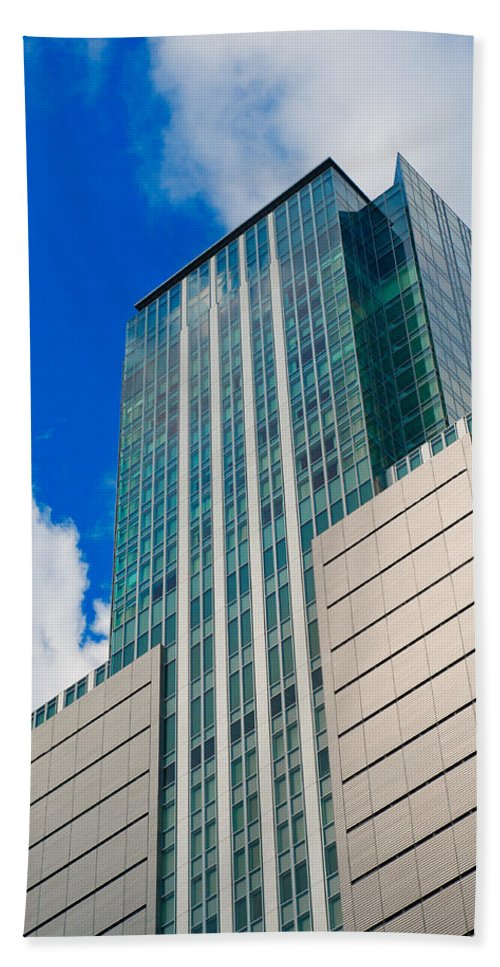 Abstract Bath Sheet featuring the photograph Skyscraper Front View With Blue Sky by U Schade