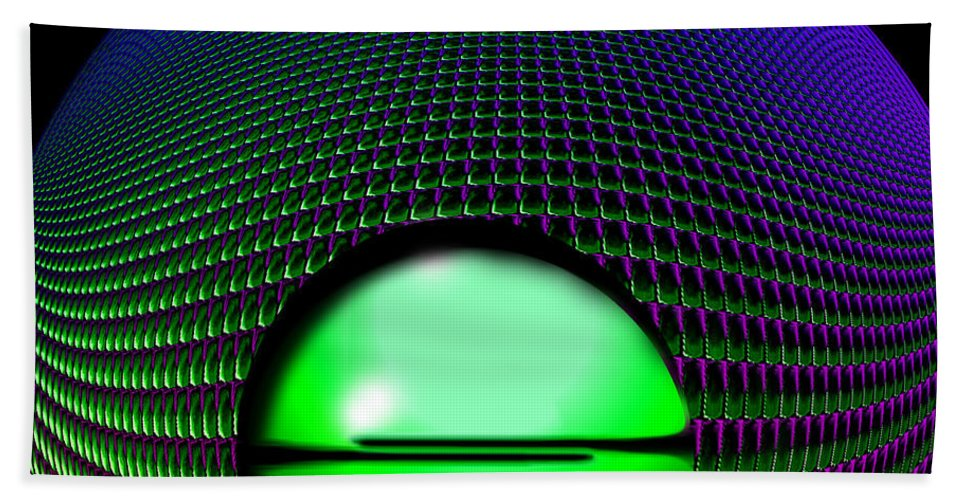 Digital .abstract.green .purple.black. Bath Sheet featuring the digital art Spin by Gary Yates