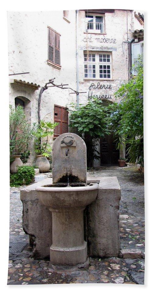 Fountain Bath Sheet featuring the photograph St. Paul De Vence Fountain by Carla Parris
