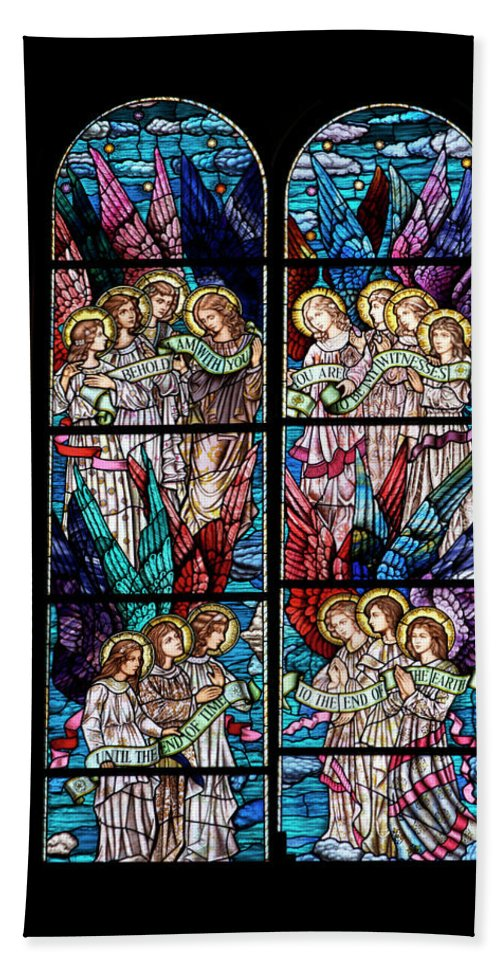 Glass Art Bath Sheet featuring the digital art Stained Glass Pc 05 by Thomas Woolworth