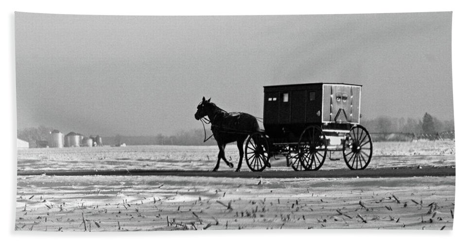 Amish Bath Sheet featuring the photograph Stark Winter Buggy by David Arment