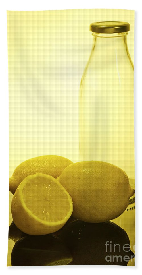 Assortment Hand Towel featuring the photograph Still Life Of Bottles And Lemons by Ilan Amihai