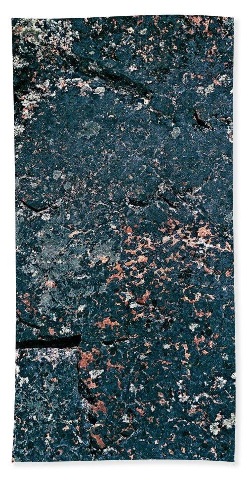 Lehtokukka Hand Towel featuring the photograph Stoneface At Hossa With Stone Age Paintings by Jouko Lehto