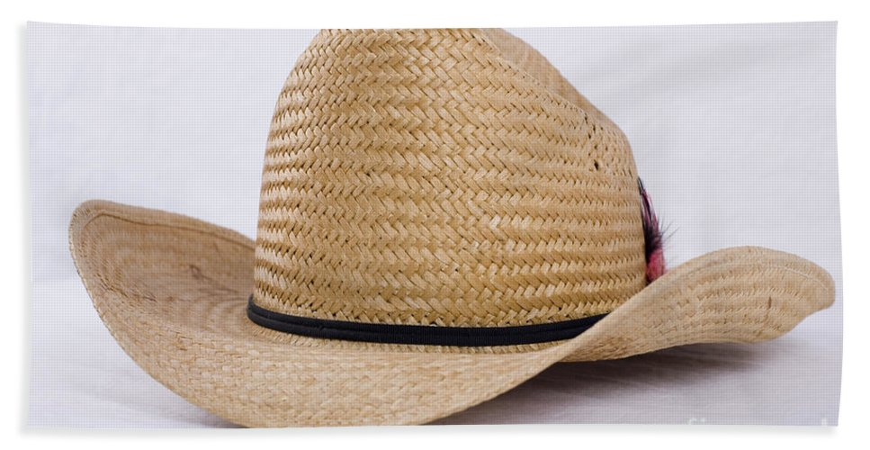Accessory Hand Towel featuring the photograph Straw Weave Cowboy Hat by Alan Look