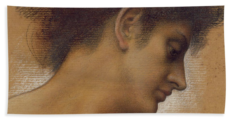 Female; Profile; Drawing Hand Towel featuring the pastel Study Of A Head by Evelyn De Morgan