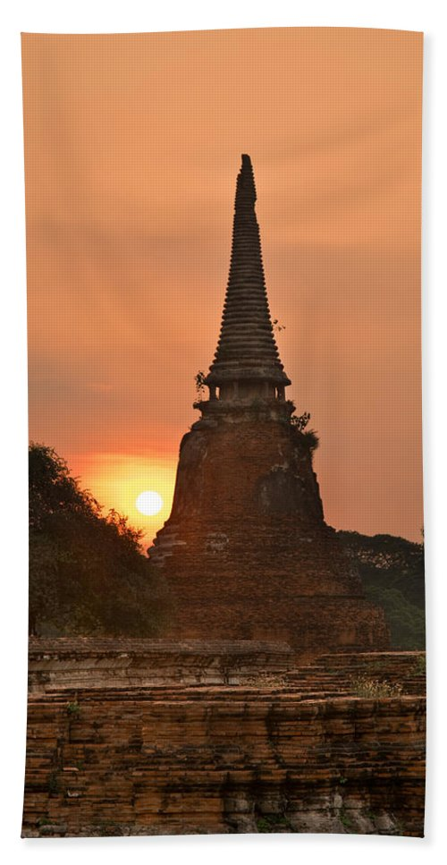 Ancient Bath Sheet featuring the photograph Stupa Chedi Of A Wat In Ayutthaya Thailand by U Schade