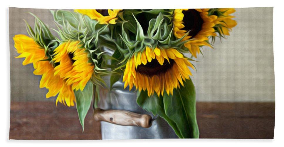 Sunflower Bath Towel featuring the photograph Sunflowers 1 by Nailia Schwarz