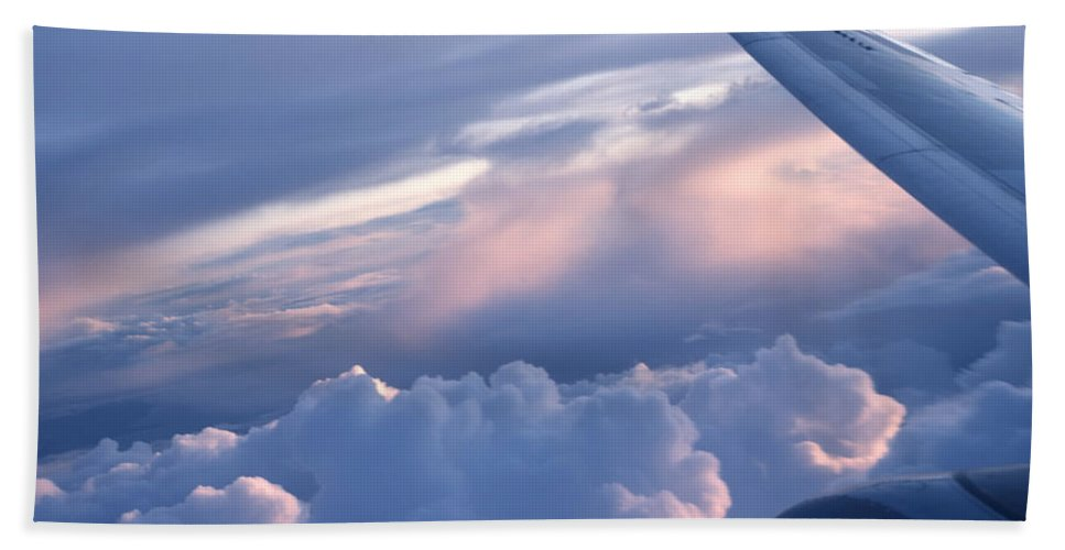 Air Transportation Hand Towel featuring the photograph Sunrise Over The Wing by Roderick Bley