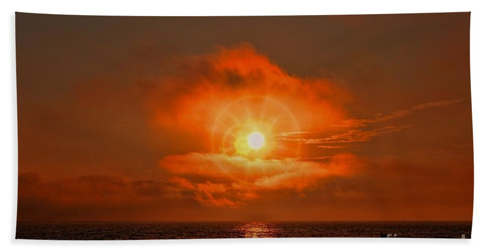 Sunset Bath Sheet featuring the photograph Sunset Over The Pacific by Tommy Anderson