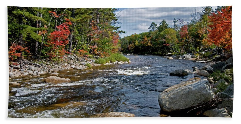 the Swift River Hand Towel featuring the photograph Swift River by Paul Mangold