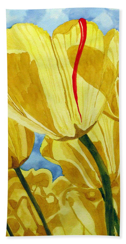 Tulips Bath Sheet featuring the painting Tender Tulips by Debi Singer