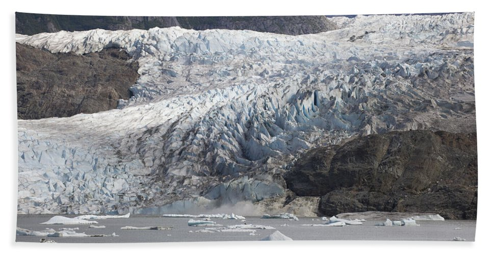 Mp Hand Towel featuring the photograph Terminal Moraine And Glacial Lake by Matthias Breiter