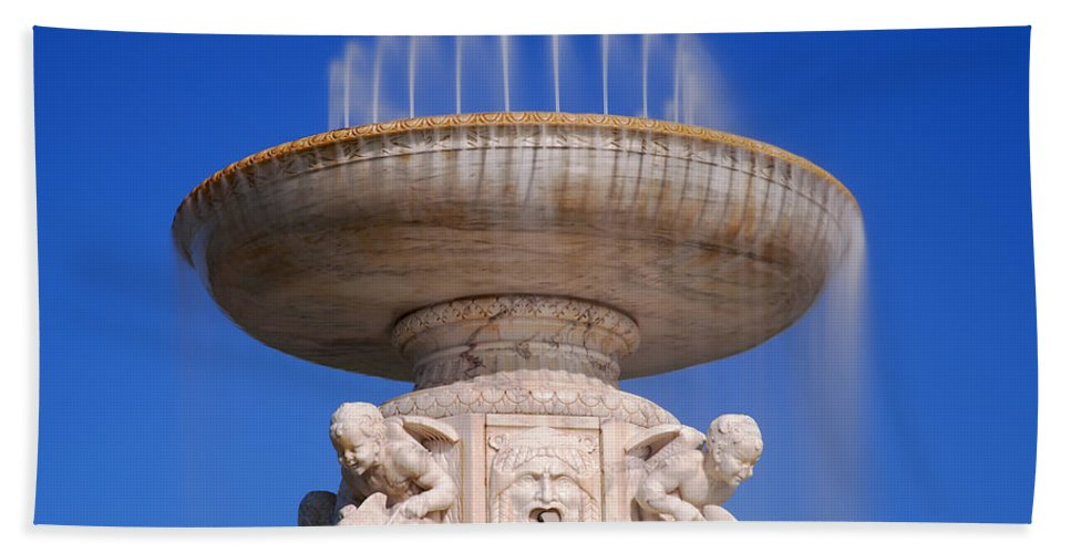 Belle Bath Sheet featuring the photograph The Belle Isle Scott Fountain by Gordon Dean II