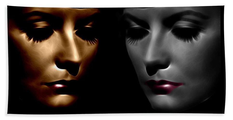 Greta Garbo Modern Digital Painting Pop Art Golden Twenties 20s Silent Hollywood Bath Sheet featuring the digital art The Divine by Steve K