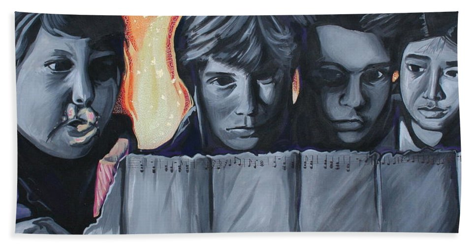 Hand Towel featuring the painting The Goonies by Kate Fortin