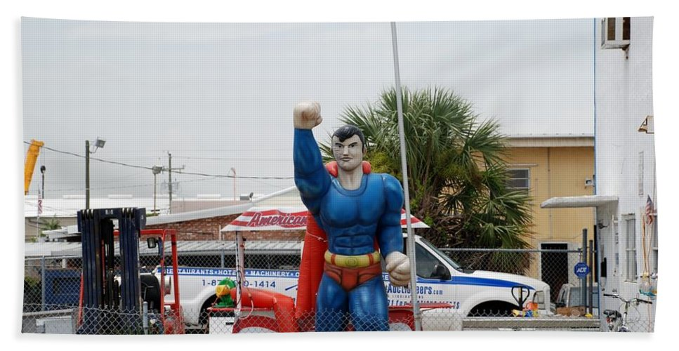 Superman Bath Sheet featuring the photograph The Man Of Steel On I 95 by Rob Hans