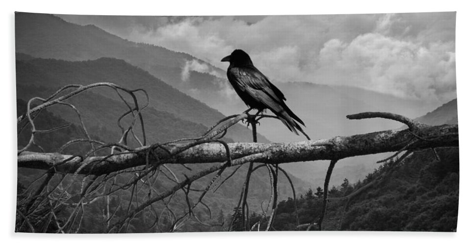 Raven Hand Towel featuring the photograph The Sentinel by Randall Nyhof