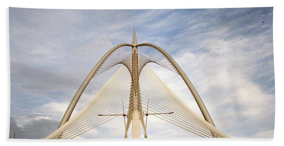Asia Bath Sheet featuring the photograph The Seri Wawasan Bridge In Purajaya In Malaysia by Shaun Higson
