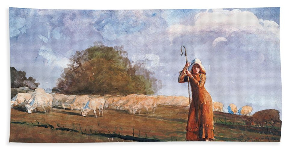 The Young Shepherdess Bath Sheet featuring the painting The Young Shepherdess by Winslow Homer