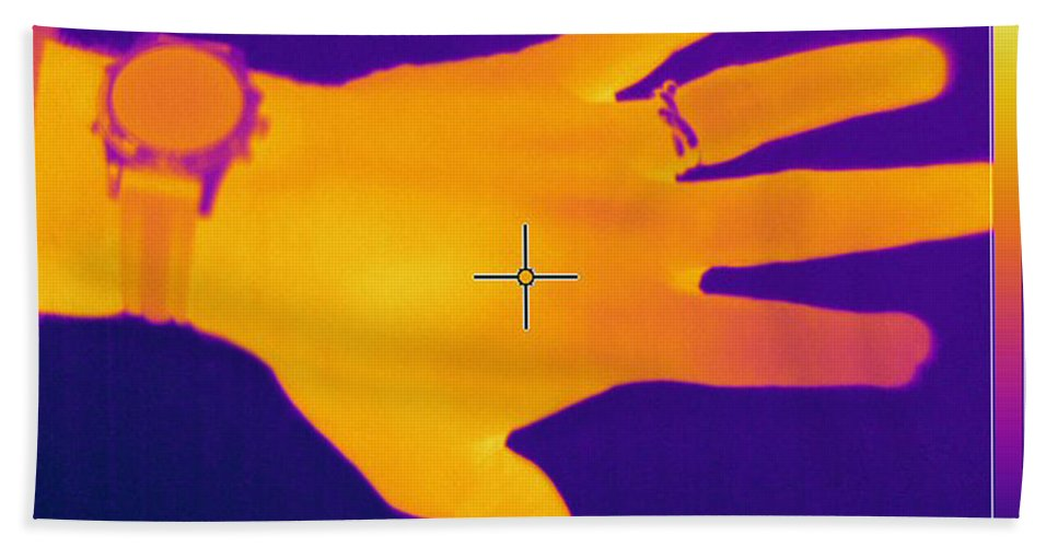 Thermogram Hand Towel featuring the photograph Thermogram Of A Hand by Ted Kinsman