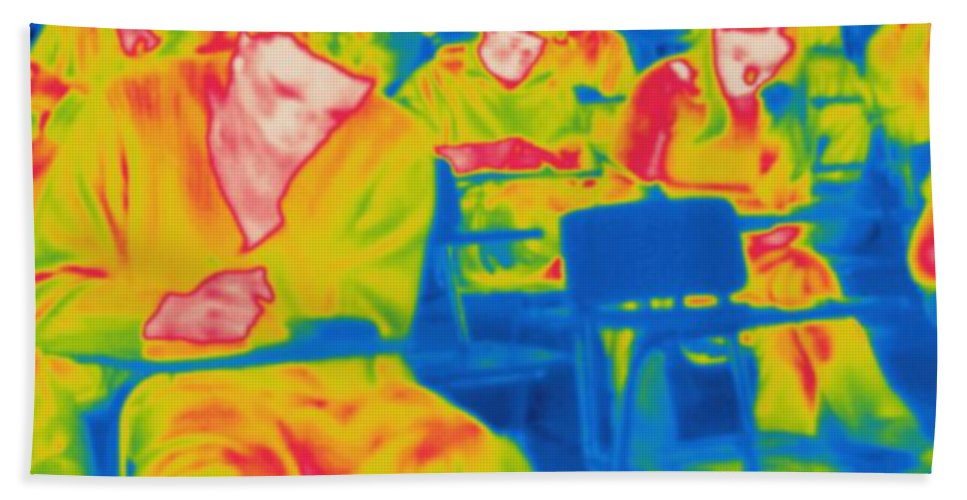 Thermogram Hand Towel featuring the photograph Thermogram Of Students In A Lecture by Ted Kinsman