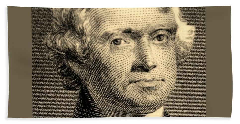 Thomas Jefferson Bath Sheet featuring the photograph Thomas Jefferson In Sepia by Rob Hans