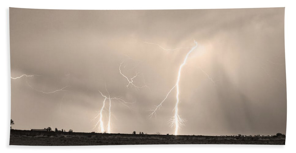 Lightning Hand Towel featuring the photograph Thunderstorm On The Plains Bw Sepia by James BO Insogna