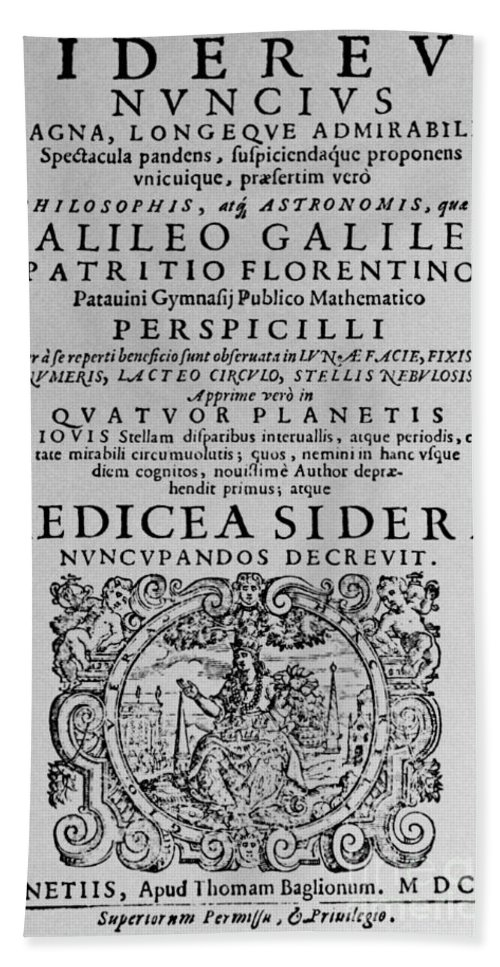 Title Page Hand Towel featuring the photograph Title Page Of Galileos Book by Science Source