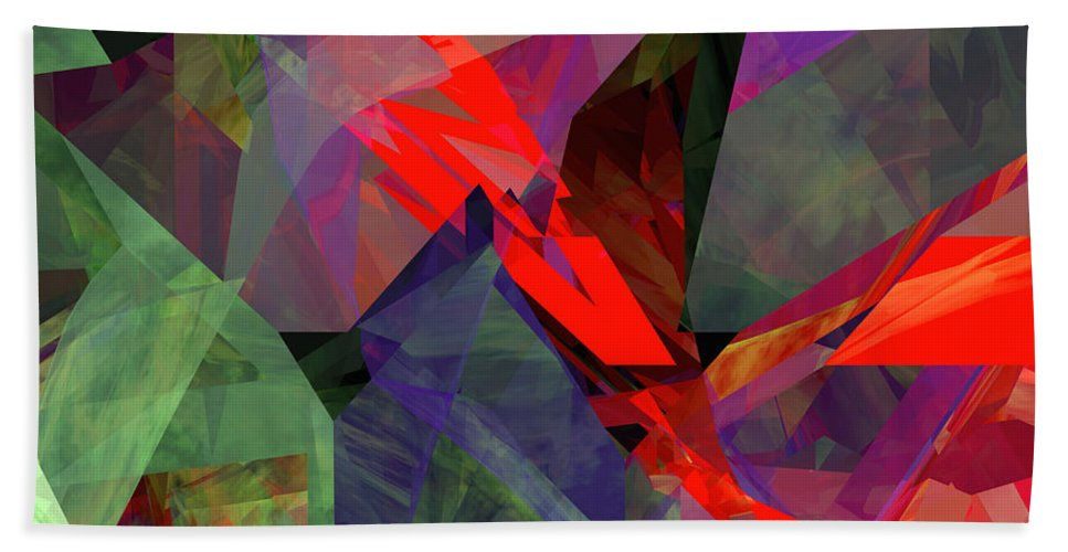 Abstract Hand Towel featuring the digital art Tower Series 26 by Russell Kightley