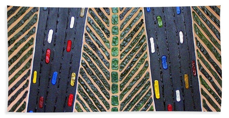 Traffic Bath Sheet featuring the mixed media Traffic by Cynthia Amaral