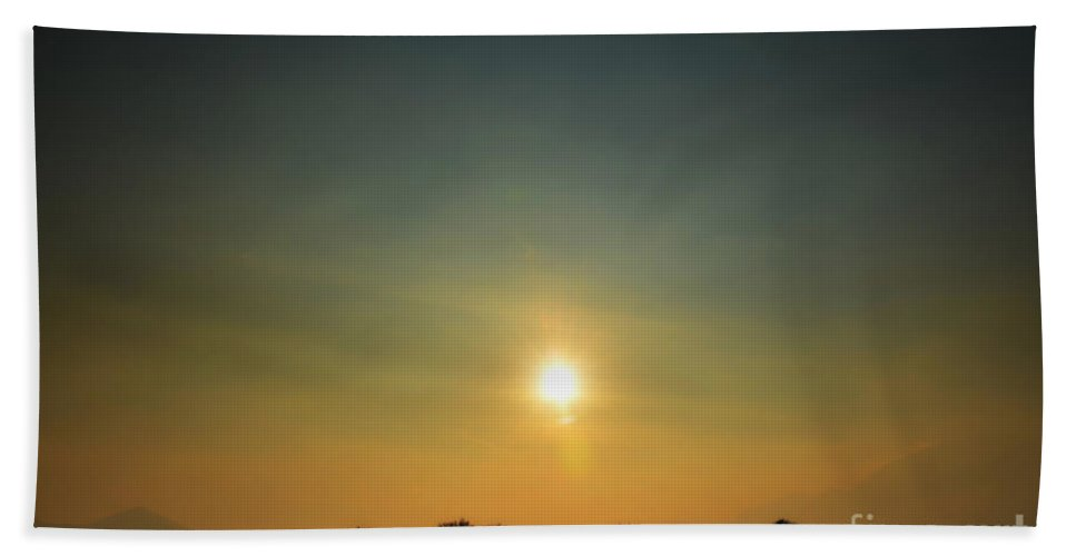 Tree Hand Towel featuring the photograph Trees And Sun In A Foggy Day by Mats Silvan