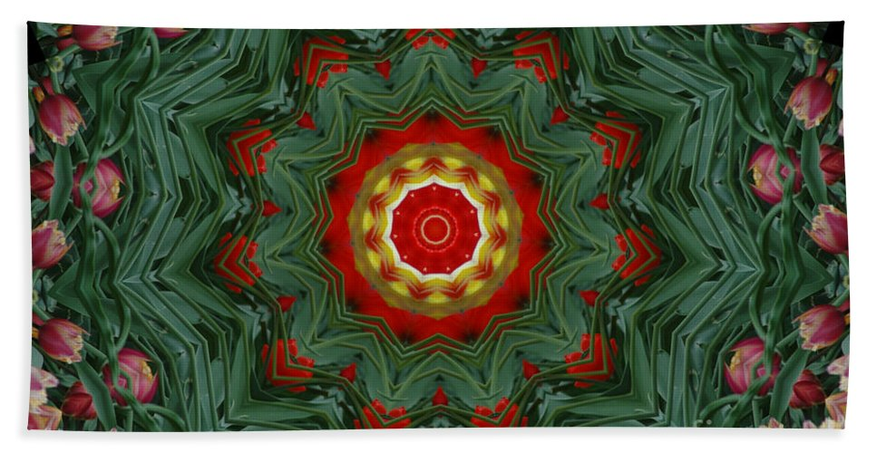 Kaleidoscope Hand Towel featuring the photograph Tulips 1 by Mark Gilman