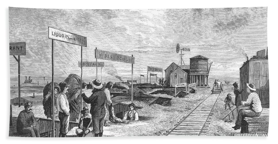 1874 Hand Towel featuring the photograph Underground Village, 1874 by Granger