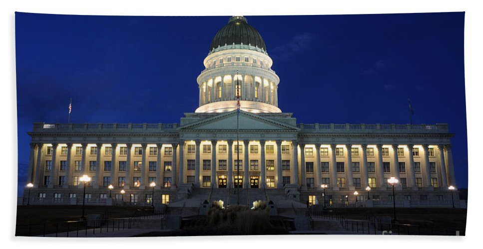 Utah Capitol Hand Towel featuring the photograph Utah Capitol Building At Twilight by Gary Whitton