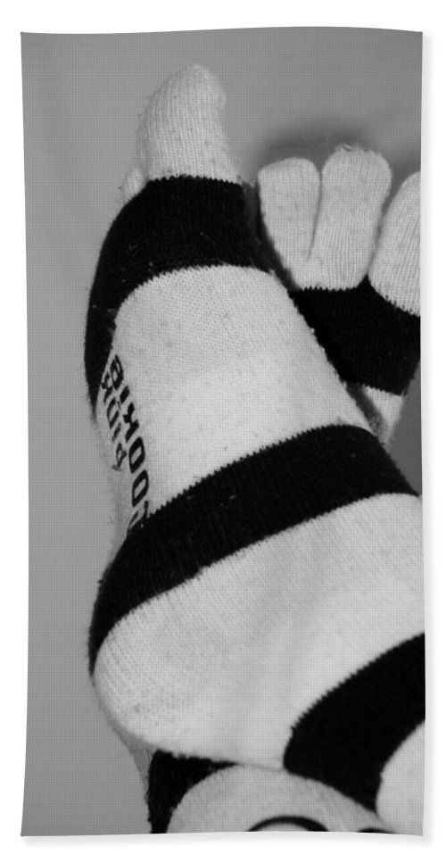 Feet Hand Towel featuring the photograph Val's Feet In Black And White by Rob Hans
