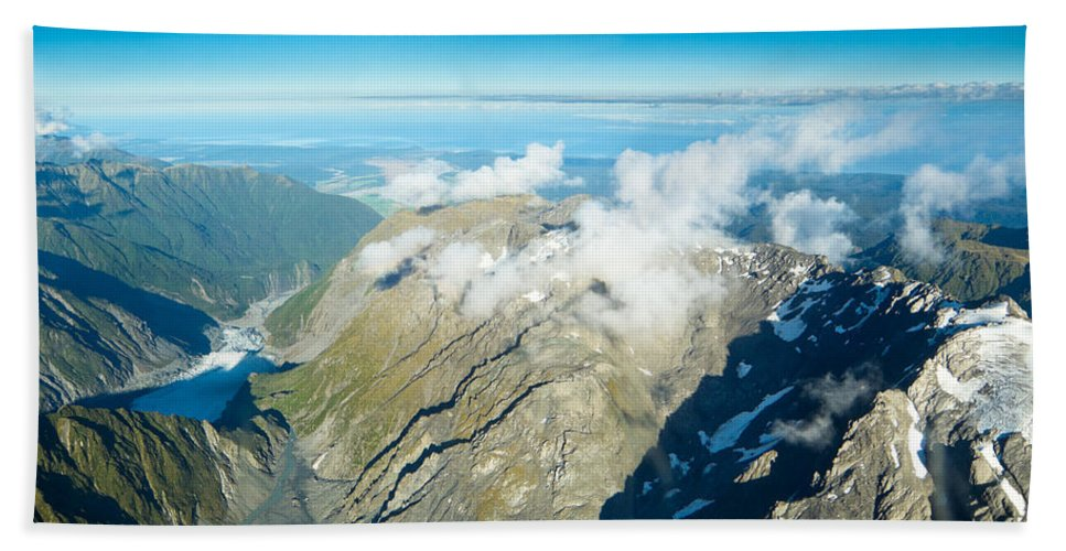 Alps Bath Sheet featuring the photograph View On To Fox Glacier In South New Zealand by U Schade