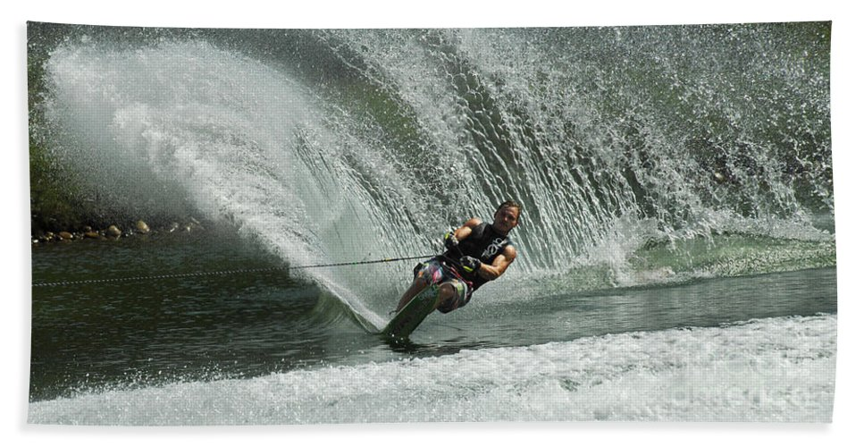 Water Skiing Hand Towel featuring the photograph Water Skiing Magic Of Water 27 by Bob Christopher